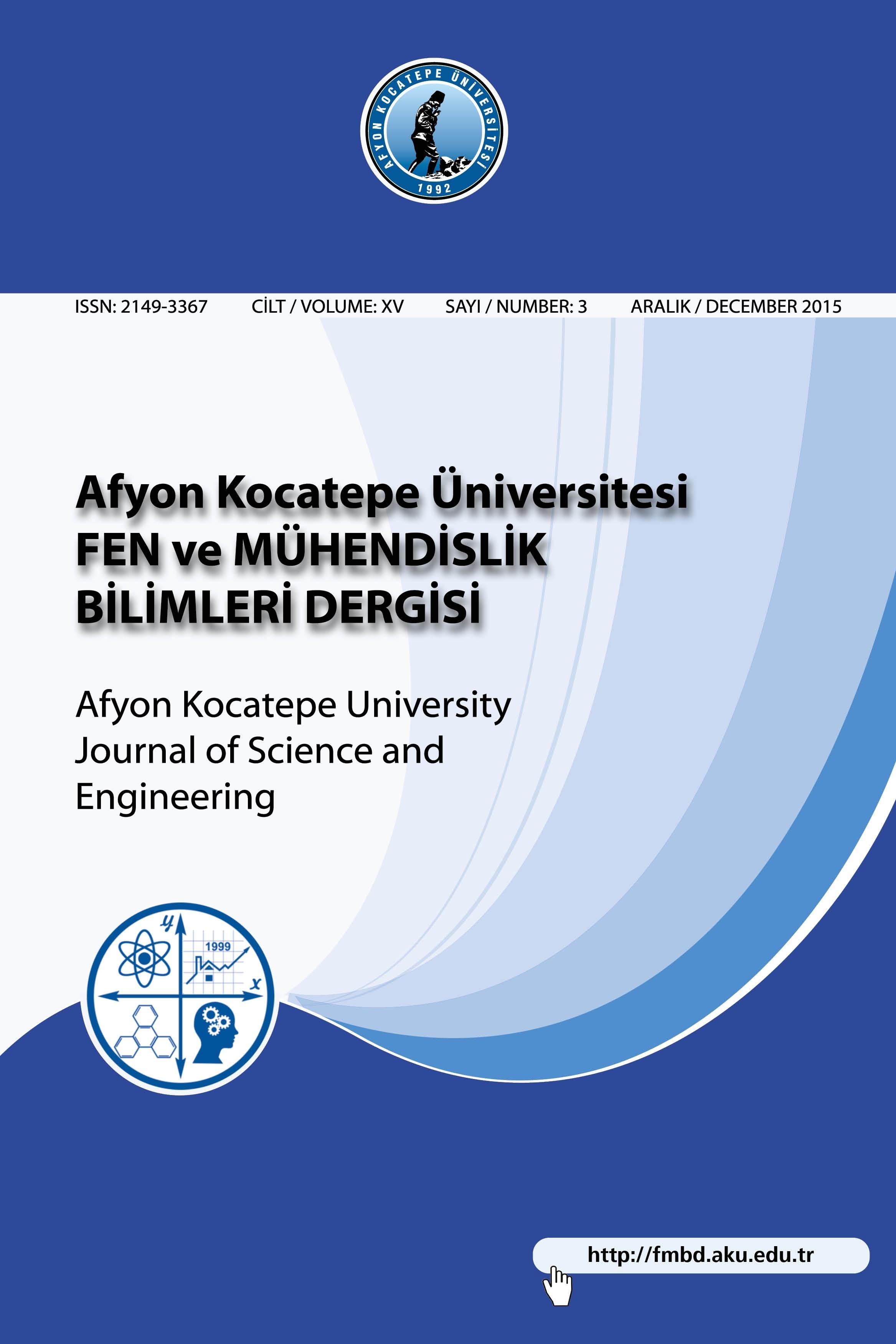 Afyon Kocatepe Üniversitesi Fen Ve Mühendislik Bilimleri Dergisi